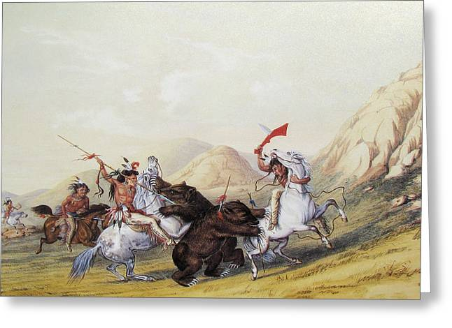 Attacking The Grizzly Bear Greeting Card by George Catlin