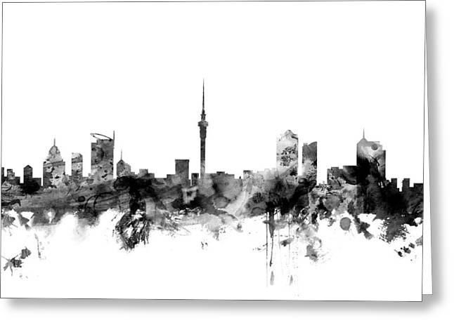 Auckland New Zealand Skyline Greeting Card by Michael Tompsett