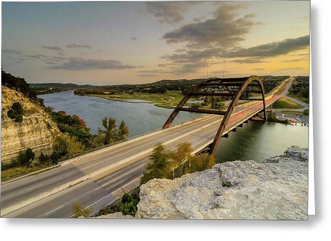 Austin Pennybacker 360 Bridge Sunset Greeting Card by Preston Broadfoot