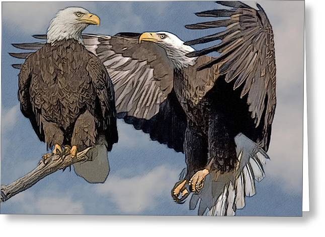 Bald Eagle Pair Greeting Card by Larry Linton