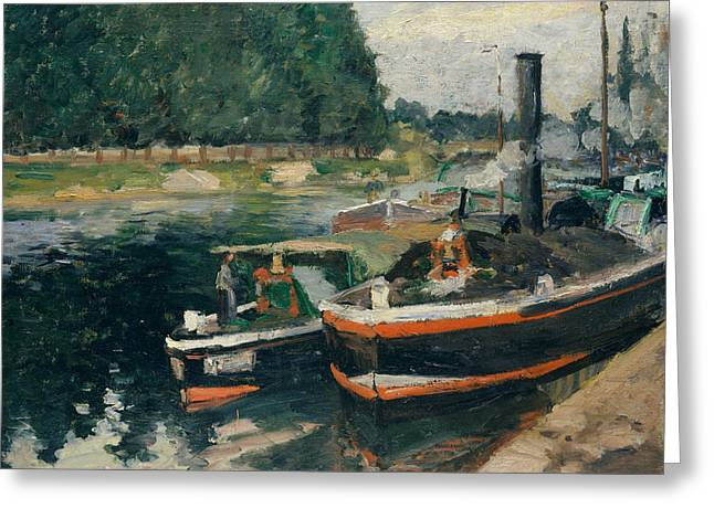 Barges At Pontoise Greeting Card by Camille Pissarro