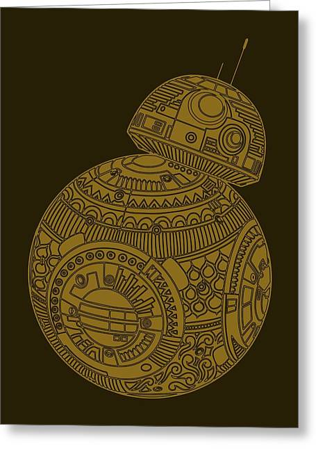 Bb8 Droid - Star Wars Art, Brown Greeting Card