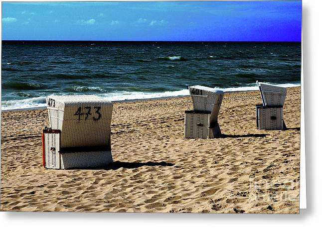3 Beach Chairs Greeting Card by Hannes Cmarits