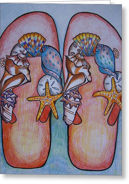 Greeting Card featuring the drawing Beach Shoes by Leslie Manley