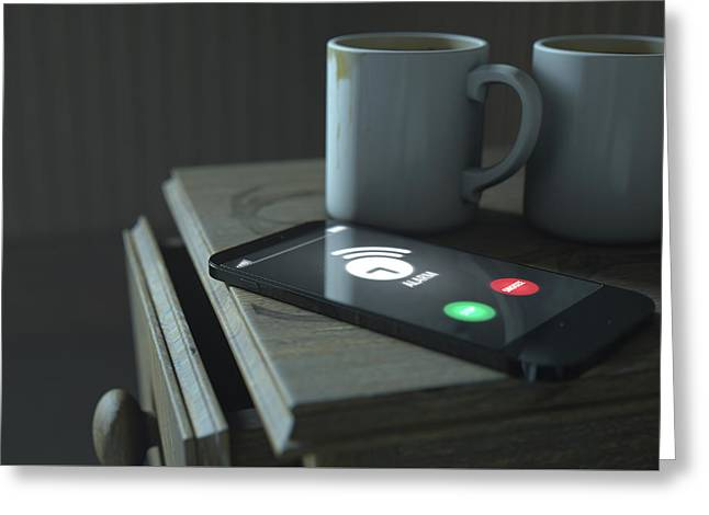Bedside Table And Cellphone Greeting Card by Allan Swart