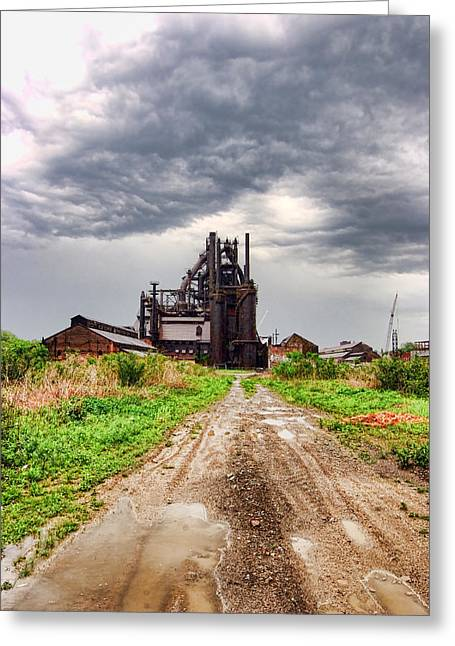 Greeting Card featuring the photograph Bethlehem Steel by Michael Dorn