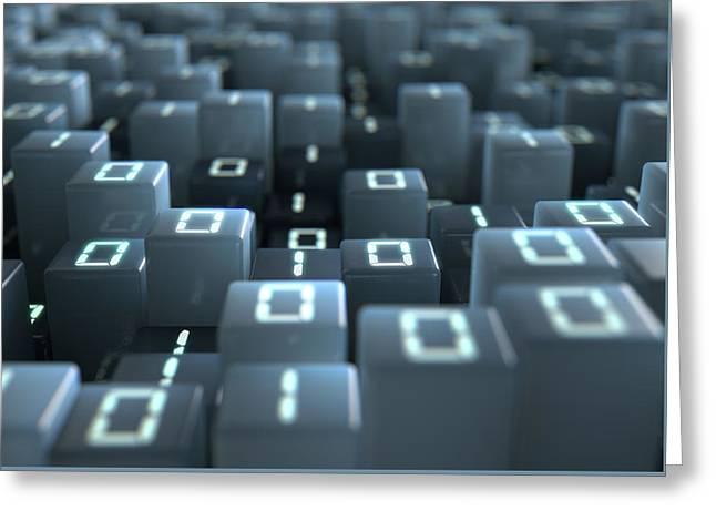 Binary Code Pixels Greeting Card by Allan Swart