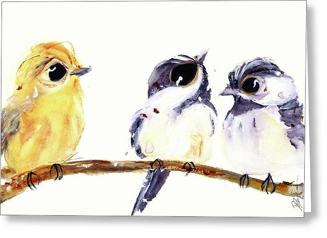 Greeting Card featuring the painting 3 Birds On A Branch by Dawn Derman