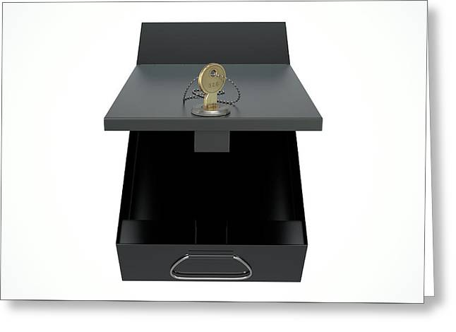 Black Safe Deposit Box Greeting Card