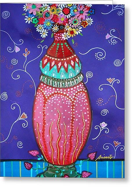 Indian Vase Greeting Cards - Blooms Greeting Card by Pristine Cartera Turkus