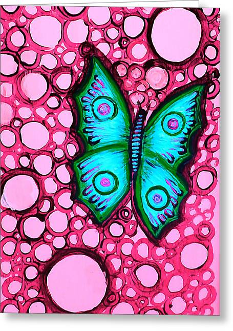 Blue Butterfly Greeting Card by Brenda Higginson