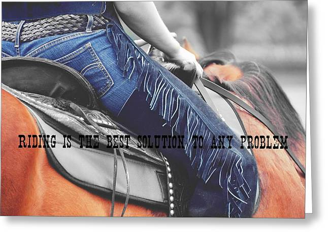 Greeting Card featuring the photograph Blue Chaps Quote by Dressage Design