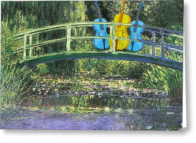 3 Blue Chellos On A Bridge Greeting Card