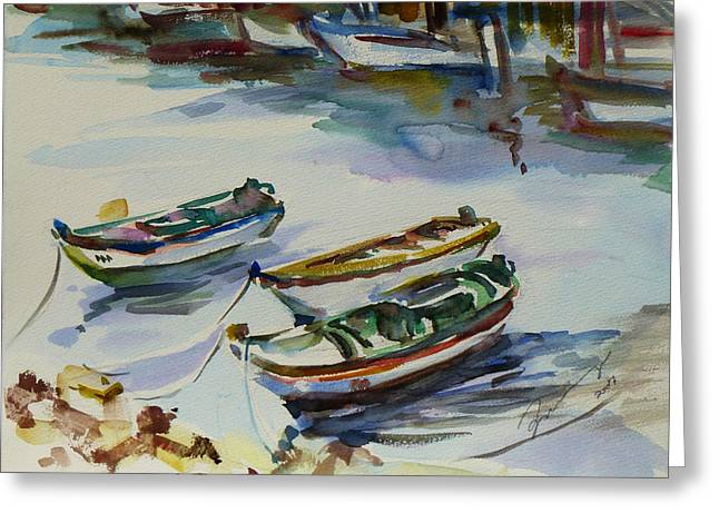 Greeting Card featuring the painting 3 Boats I by Xueling Zou