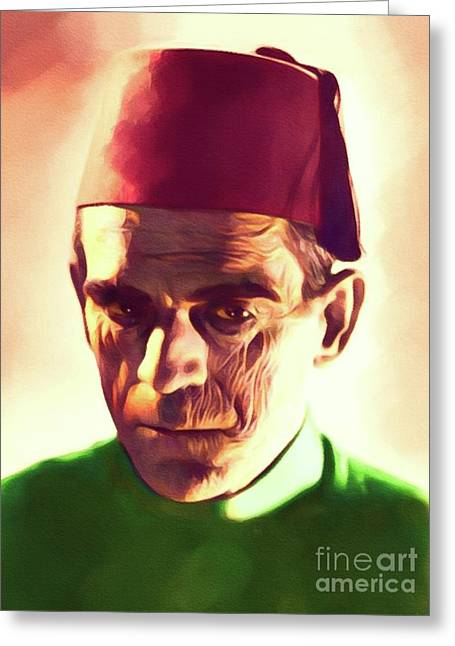 Boris Karloff, Vintage Horror Legend Greeting Card
