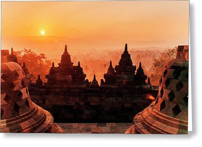 Borobudur Temple At Sunset Sunrise Dusk Greeting Card