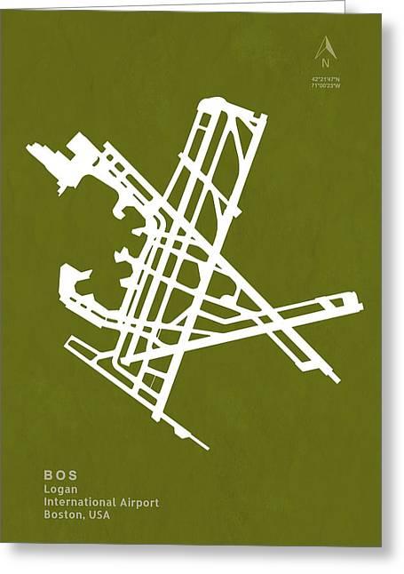 Bos Logan International Airport In Boston Massachusetts Usa Runw Greeting Card