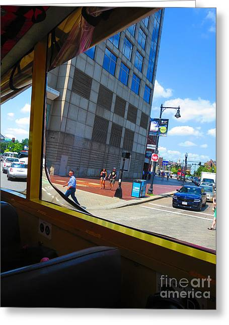 Boston City Bus Tour N Duck Tour On Lake Photography View Windows By Navinjoshi Fineartamerica Pixel Greeting Card by Navin Joshi