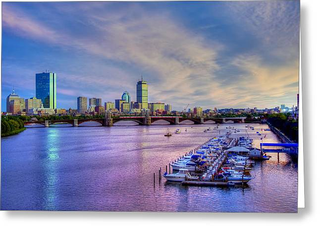 Boston Skyline Sunset Greeting Card