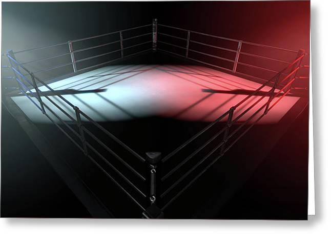 Boxing Ring Opposing Corners Greeting Card by Allan Swart