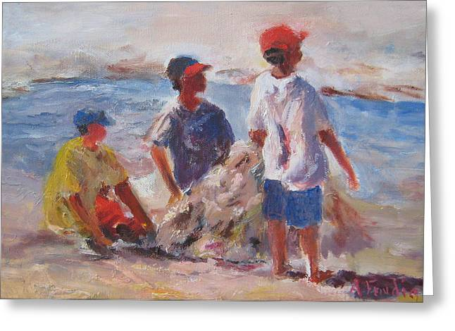 3 Boys And A Beach Greeting Card by Albert Fendig