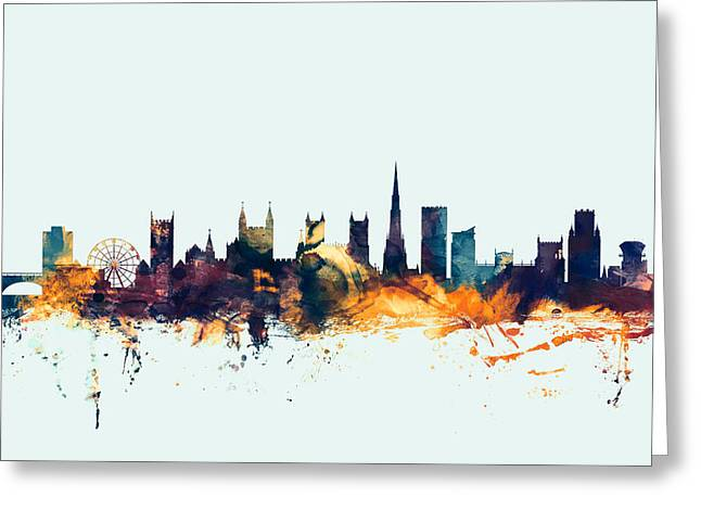 Bristol England Skyline Greeting Card by Michael Tompsett