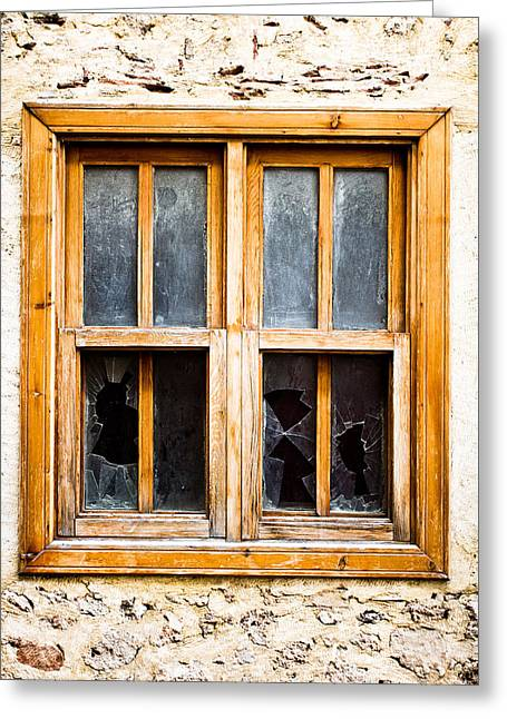 Broken Window Greeting Card by Tom Gowanlock
