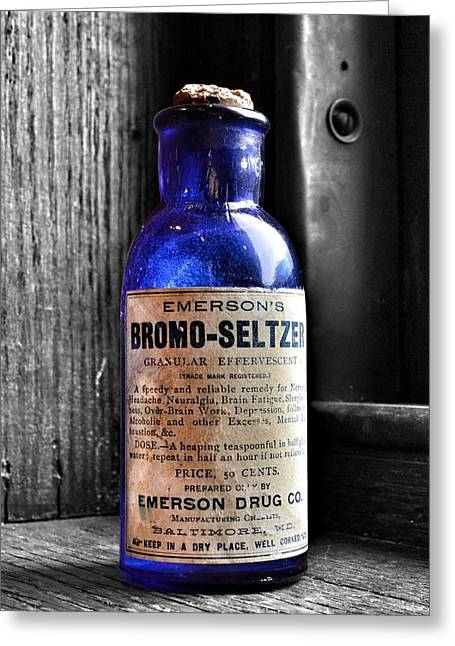 Seltzer greeting cards fine art america bromo seltzer vintage glass bottles collection greeting card m4hsunfo