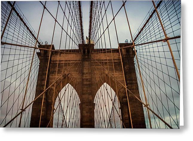 Brooklyn Bridge Greeting Card by Martin Newman