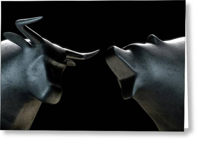 Bull Versus Bear Greeting Card