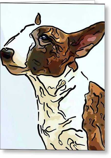 Bullterrier Greeting Card by Alexey Bazhan