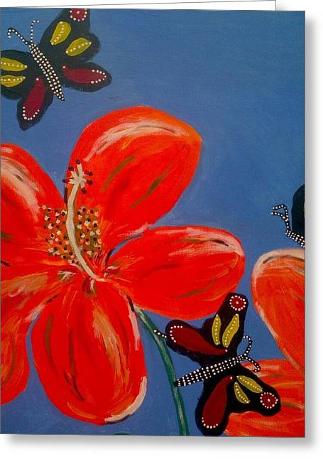 Cocoon Greeting Cards - 3 Butterflys Good Spirit Near Greeting Card by Julie Butterworth