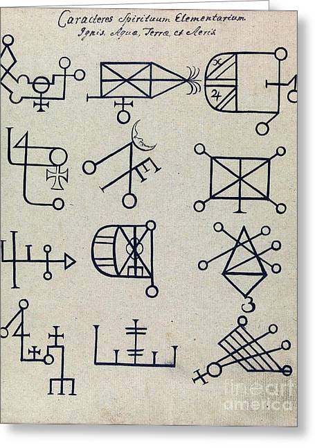 Cabbalistic Signs And Sigils, 18th Greeting Card by Wellcome Images