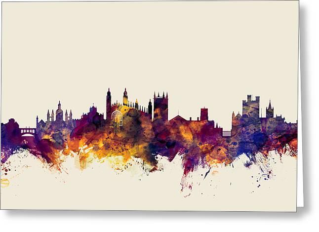 Cambridge England Skyline Greeting Card
