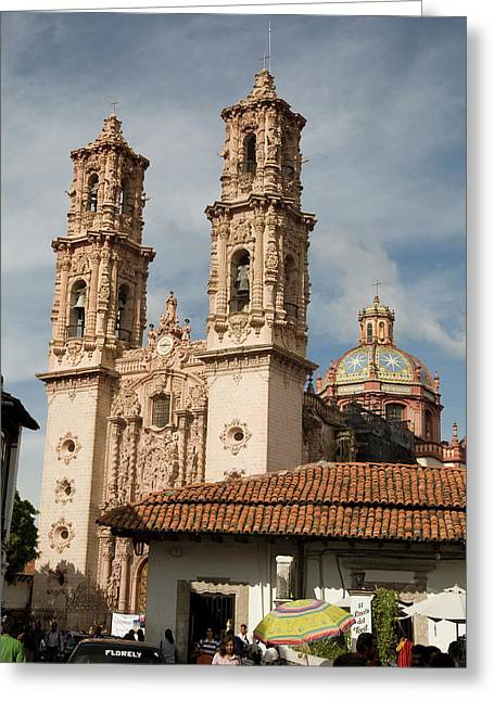 Cathedral In Taxco Mexico Greeting Card by Carl Purcell