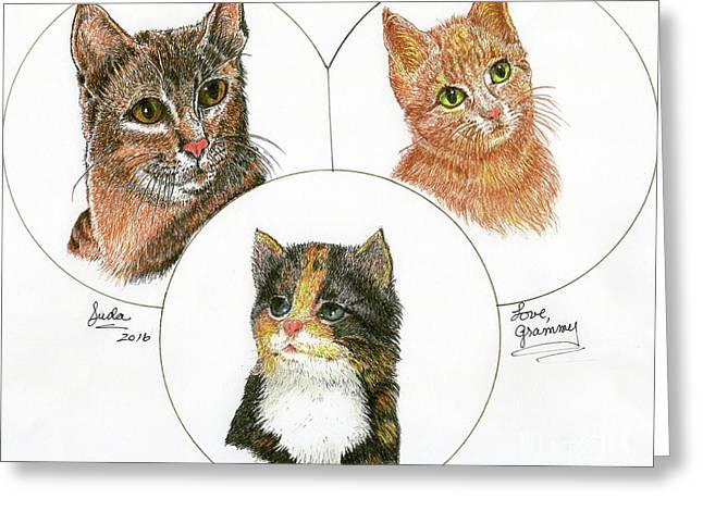 3 Cats For Juda Greeting Card