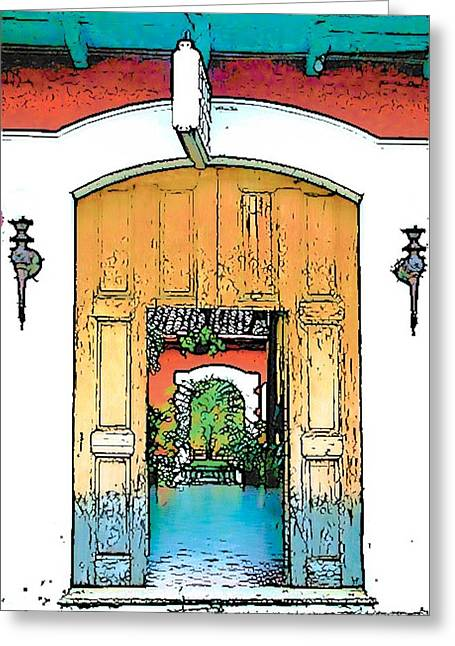 Central America Courtyard Greeting Card by Lisa Dunn