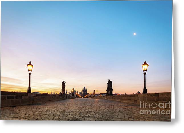 Charles Bridge At Sunrise, Prague, Czech Republic. Dramatic Statues And Medieval Towers. Greeting Card