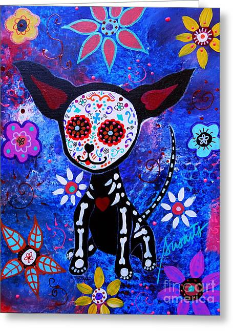 Chihuahua Day Of The Dead Greeting Card by Pristine Cartera Turkus