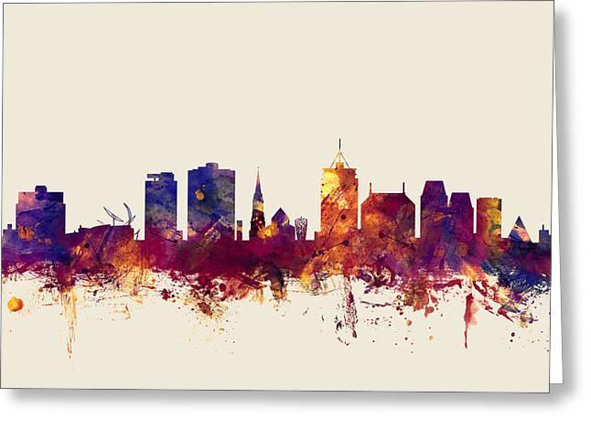 Christchurch New Zealand Skyline Greeting Card by Michael Tompsett