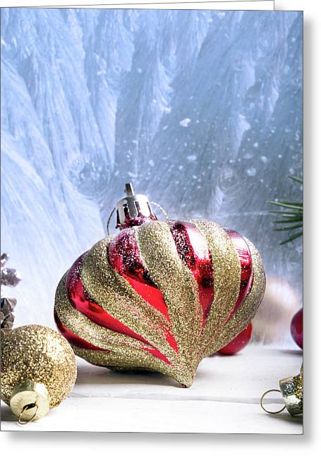 Christmas Red And Golden Ornaments Greeting Card by Vadim Goodwill