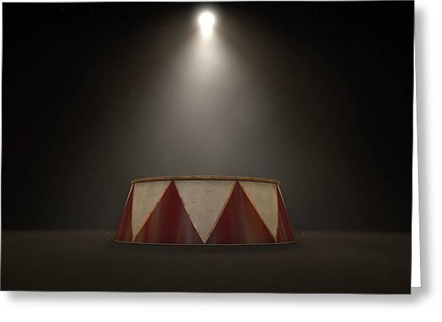 Circus Podium Spotlit Greeting Card by Allan Swart