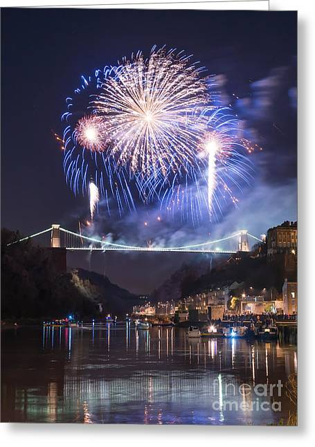 Clifton Suspension Bridge Fireworks Greeting Card