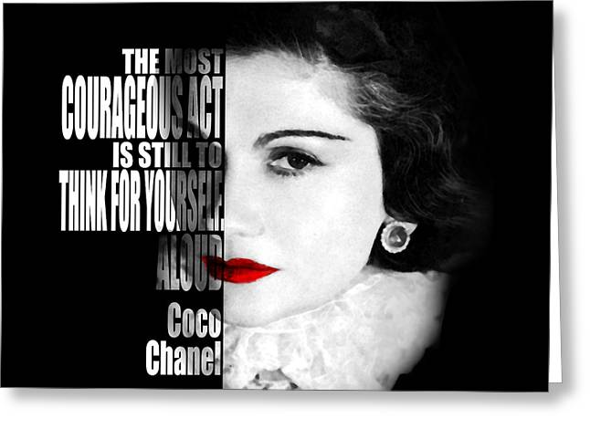 Coco Chanel Motivational Inspirational Independent Quotes Greeting Card by Diana Van