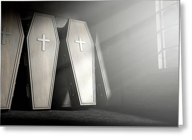 Coffin Row In A Room Greeting Card