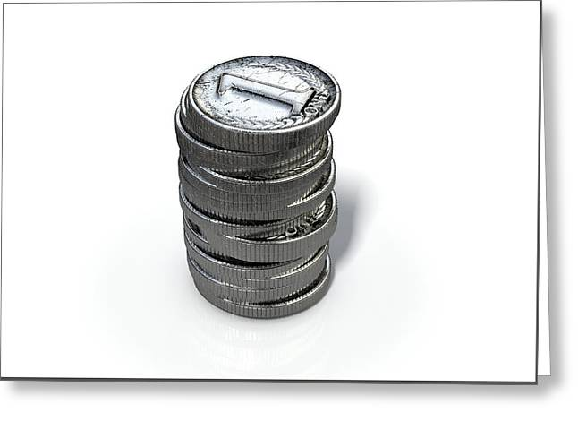 Coin Number One Stack Greeting Card by Allan Swart