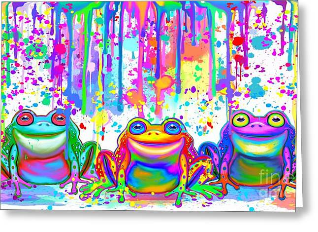 Greeting Card featuring the painting 3 Colorful Painted Frogs by Nick Gustafson