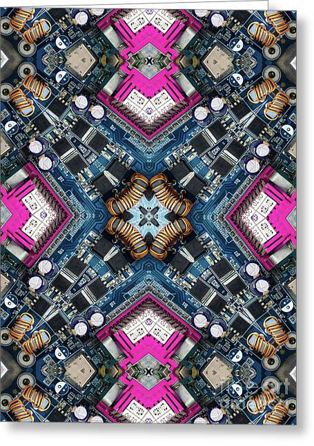 Computer Circuit Board Kaleidoscopic Design Greeting Card by Amy Cicconi