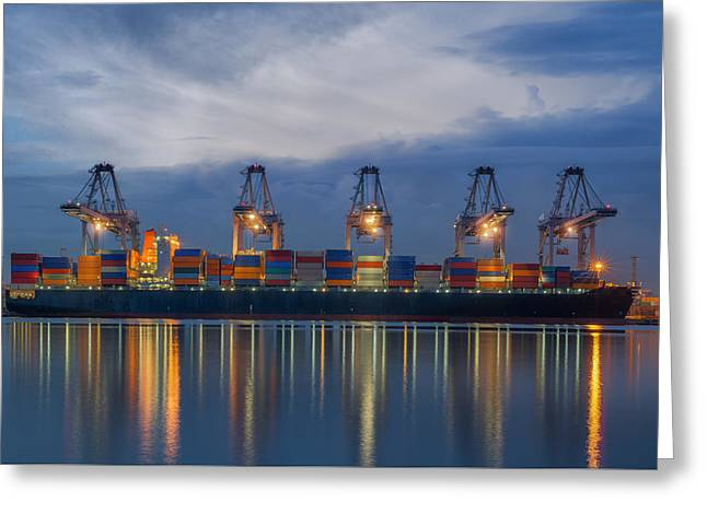 Container Cargo Freight Ship With Working Crane Loading Greeting Card by Anek Suwannaphoom