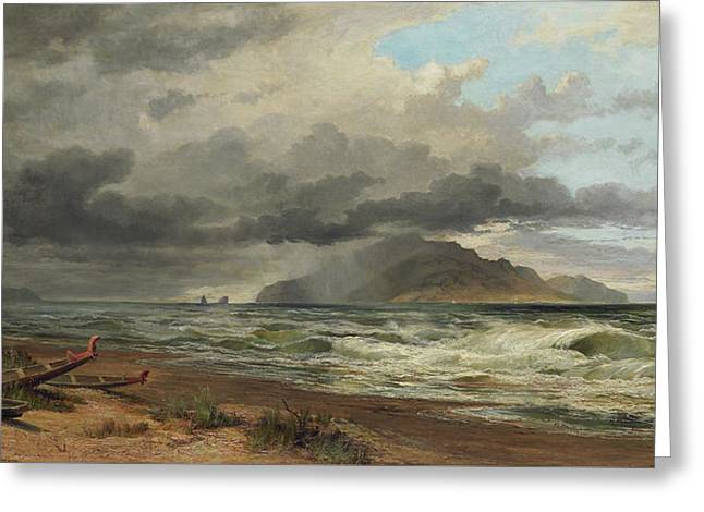 Cook Strait, New Zealand, Greeting Card by Nicholas Chevalier